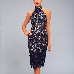 Lulus Divine destiny navy blue lace midi dress S